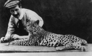Film director Alfred Machin and his favourite panther Mimir.