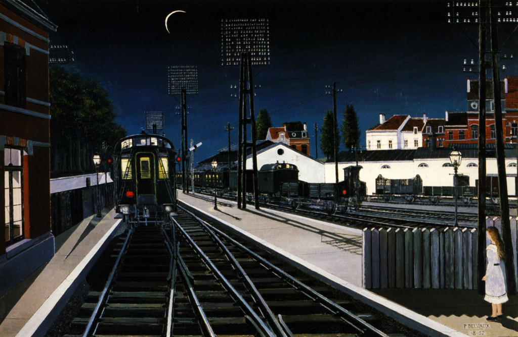 Train in Evening (1957). A work by the surrealist painter Paul Delvaux.